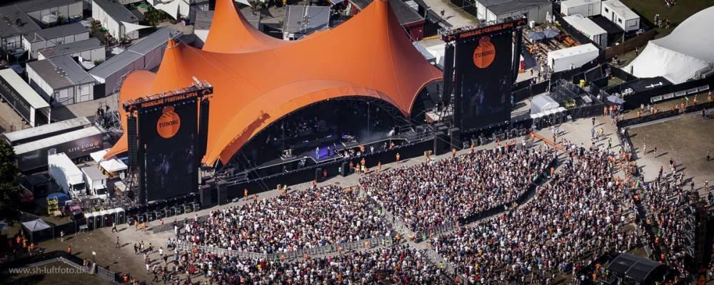 Luftfoto af af koncert på Orange Scene
