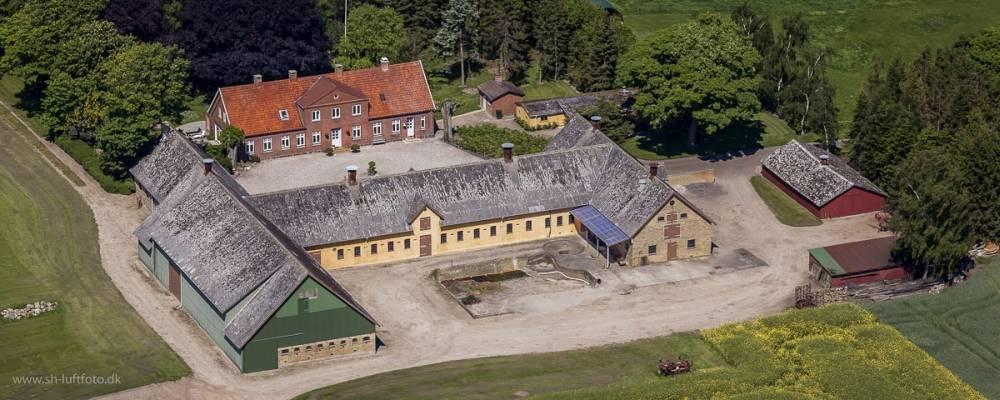 Luftfoto af et landbrug