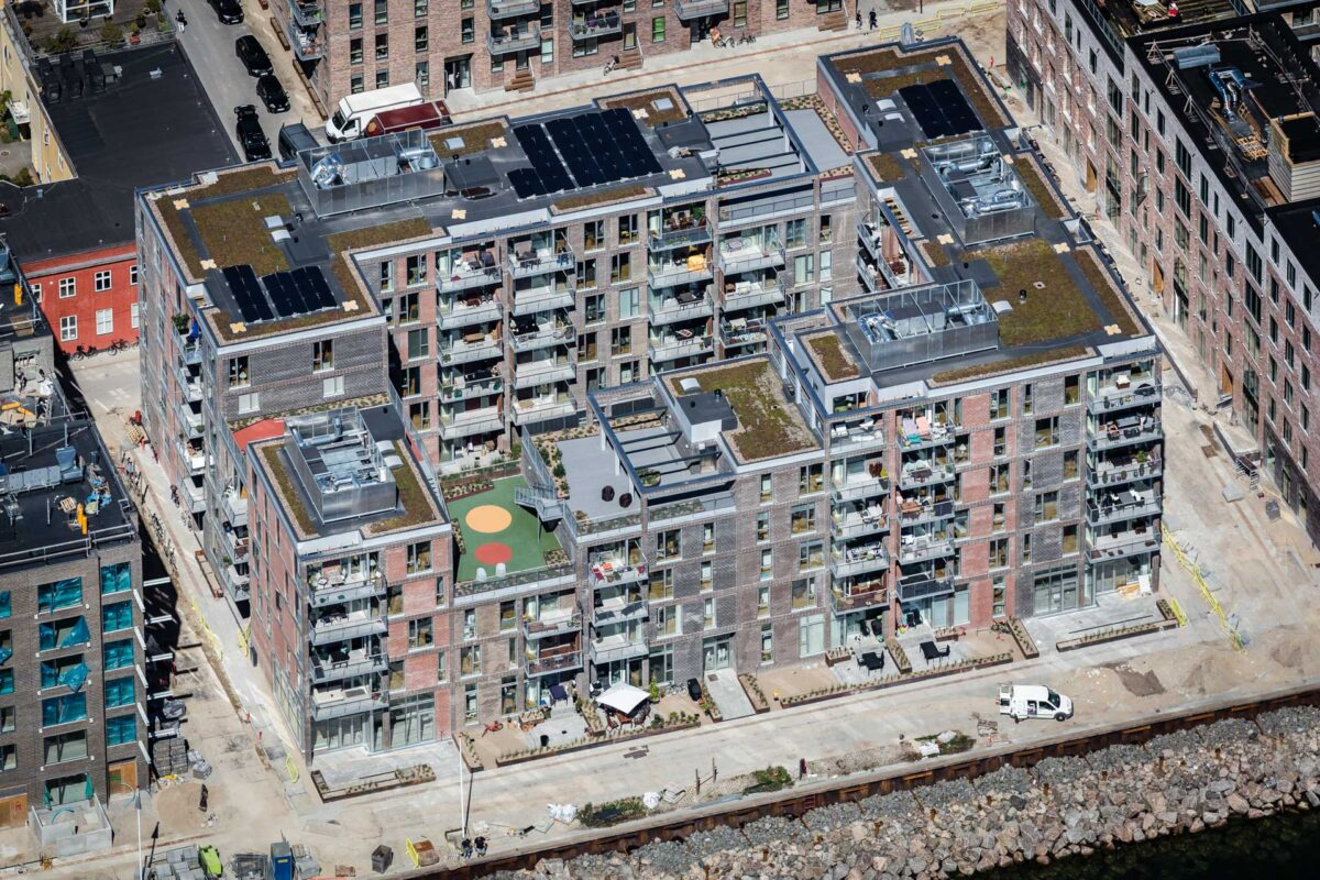 Luftfoto af et boligbyggeri i fase 3