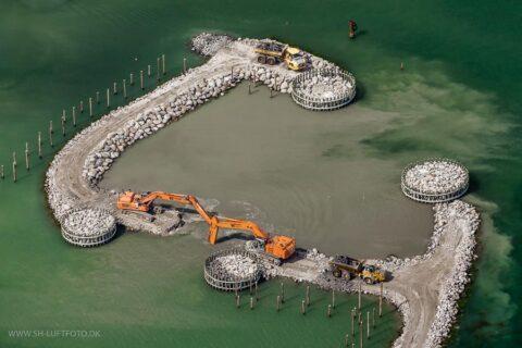 Luftfoto af gravearbejde