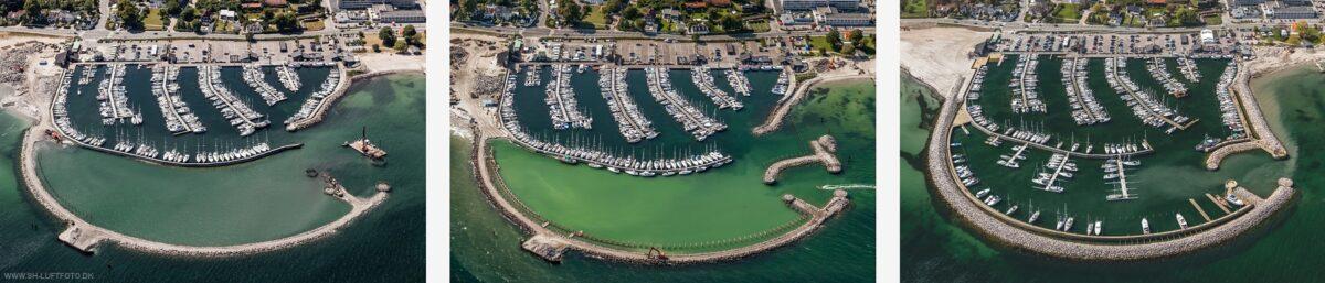 Luftfoto billedserie af udbygning af en havn